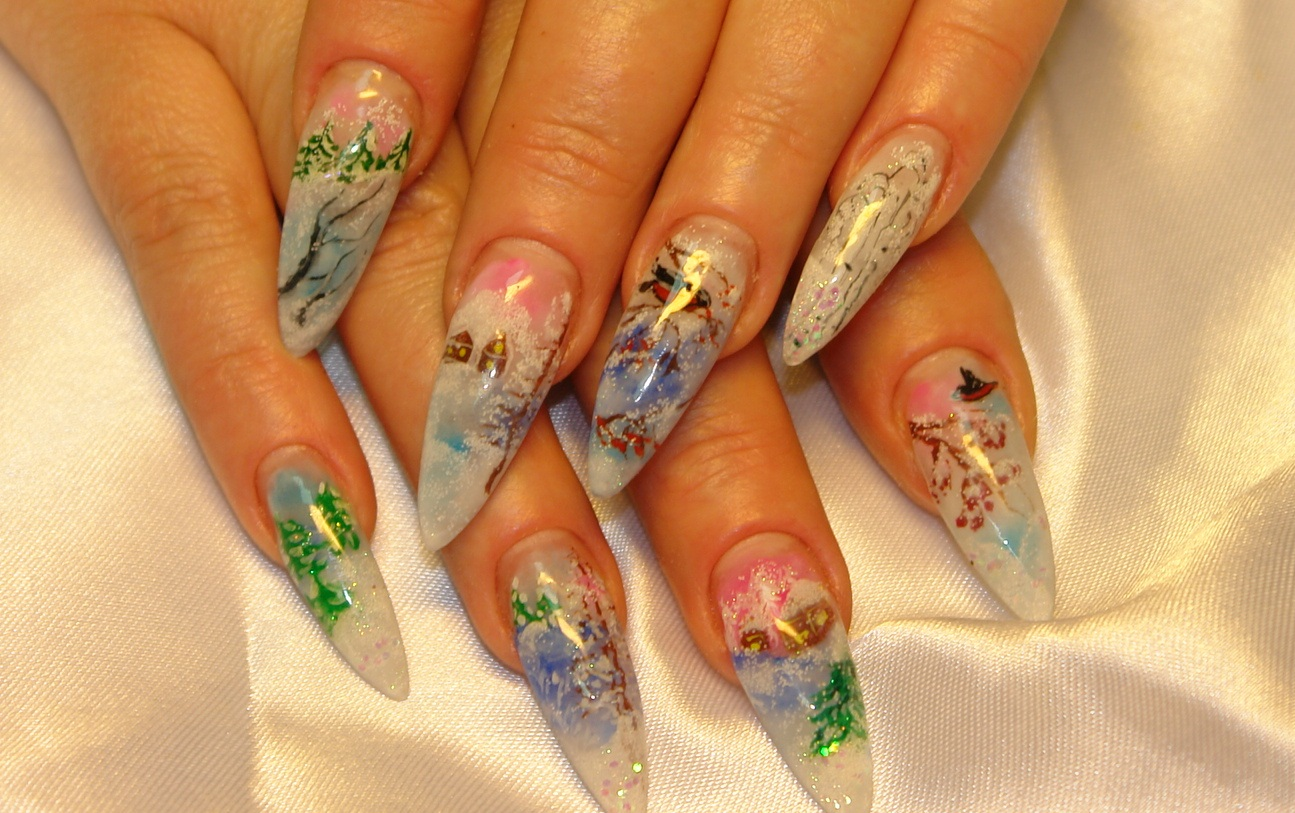 Дизайн наращивания ногтей новогодний фото
