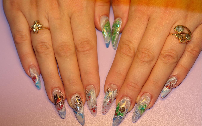 Дизайн бирюза на ногтях