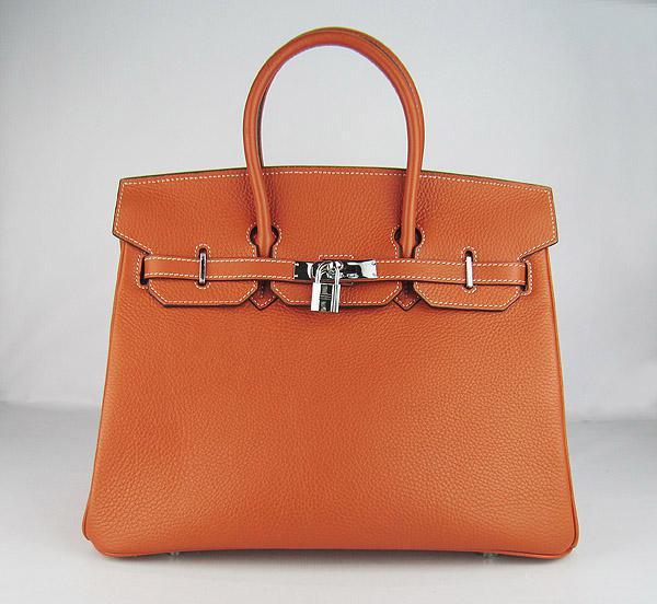 Реплика Hermes Birkin сумки 035 оранжевый (серебро)